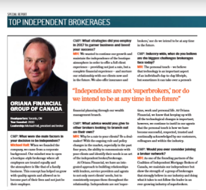 Oriana Financial was named as one of Canada's Top Independent Brokerage!